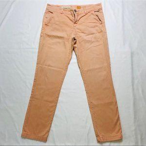 Anthro Pilcro Letterpress Peach Coral Slim Jeans